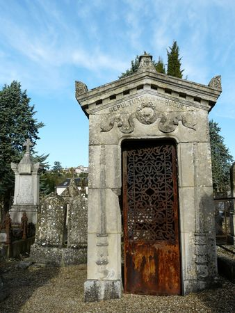 crypt: Family crypt in a graveyard or cemetery