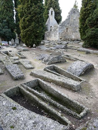 Merovingian cemetery near Civaux in France dating from the 5th-8th century with chapel ruins and sarcophagus Stock Photo