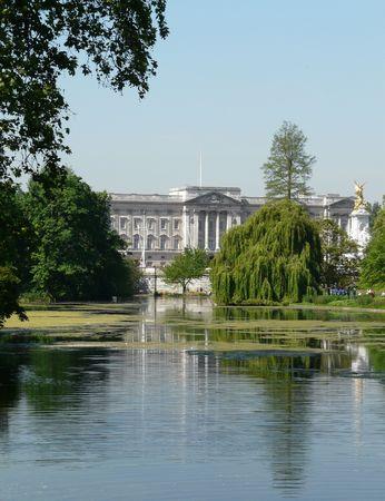 Buckingham Palace and lake reflection, London, England