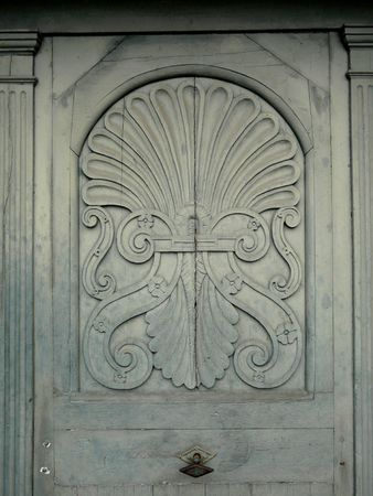 Close up of a carved church door in France Stock Photo - 4014766