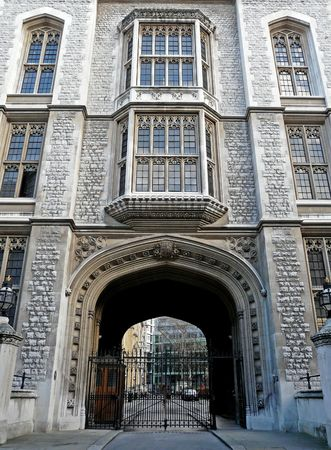 Historic facade of Kings College in London, England