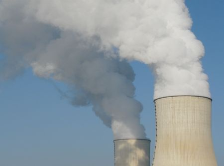 electric power station: Nuclear power station cooling towers near Civaux in France