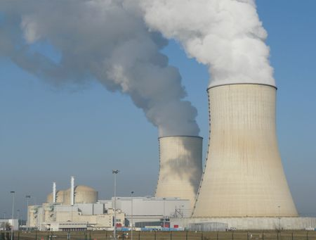 Nuclear power station cooling towers near Civaux in France