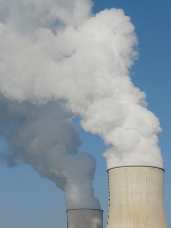 Nuclear power station cooling towers near Civaux in France Stock Photo - 4218134
