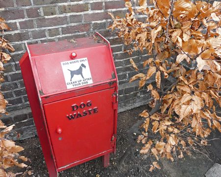 Bin for dog waste in a park photo