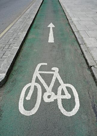 Eco-friendly special cycle lane in central London, England Stock Photo
