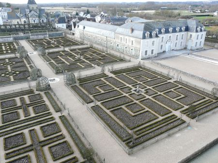 Formal gardens in the winter at the Chateau de Villandry in the Loire Valley of France Stock Photo