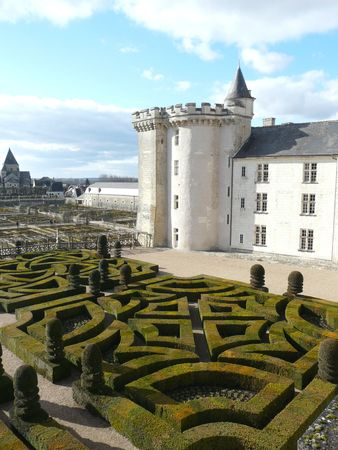 Formal gardens including the Love Garden in the winter at the Chateau de Villandry in the Loire Valley of France Stock Photo