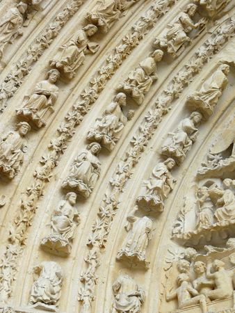 Carved stone lintel on a church door in France Stock Photo - 4553302