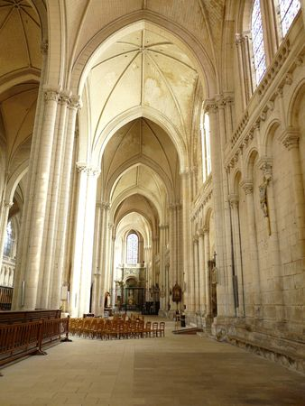 Arched interior of a church in Poitiers France