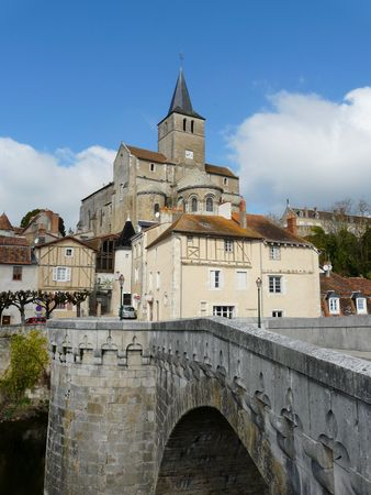 View of the medieval riverside town of Montmorillon in France