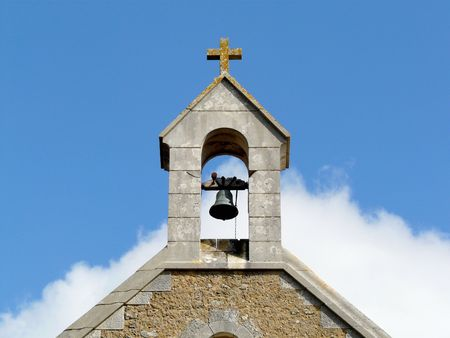 Bell tower on a church in France