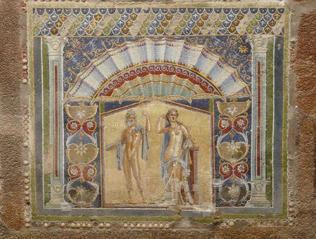 Multi-colored wall mosaics of Venus and Neptune at the ancient Roman city of Herculaneum, which was destroyed and buried by mud and ash during the eruption of Mount Vesuvius in 79 AD