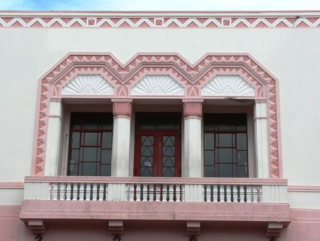 Exterior of a 1930�s Art-Deco building in Napier, New Zealand.  Napier was destroyed by an earthquake in 1931 and re-built in the style of the time, which was Art Deco photo
