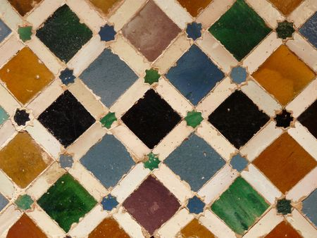 Ceramic tiles in the Palacio Nazaries at the Alhambra in Granada, Spain
