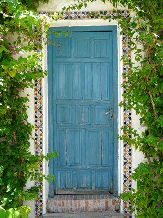 Old blue wooden door at the Palacio de Viana in Cordoba, Spain