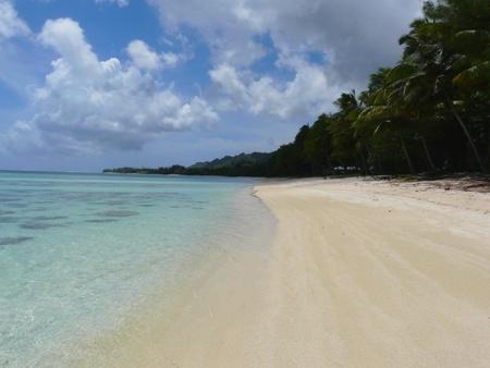 Idyllic tropical beach at Muri Lagoon on Rarotonga, Cook Islands Stock Photo