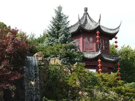 Pagoda in the Chinese Gardens at the Botanic Gardens in Montreal, Canada photo