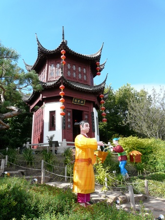 Pagoda in the Chinese Gardens at the Botanic Gardens in Montreal, Canada Stock Photo - 9159167