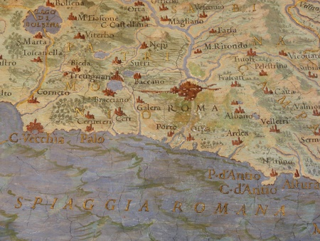 Old medieval painted map of Rome