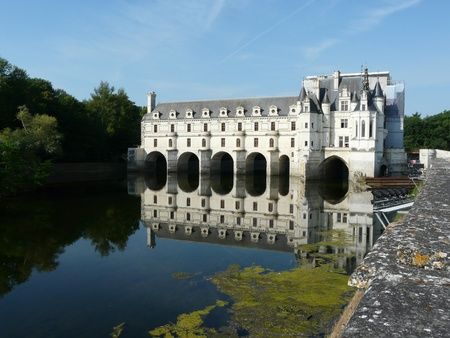 Chateau de Chenonceau spanning the Cher river near Chenonceaux in France
