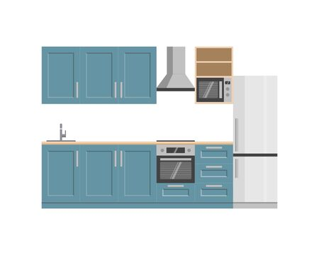 Kitchen interior with house appliances.Vector flat style. Illustration for shop of kitchens and shop of house appliances. Ilustracja