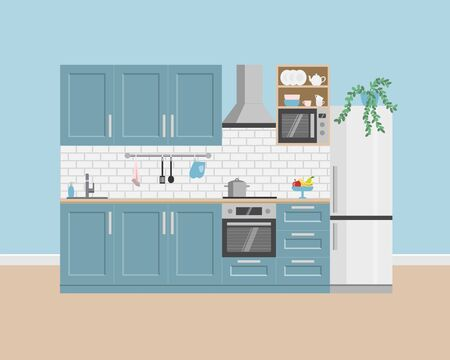 Kitchen interior with house appliances. Vector flat style. Illustration for shop of kitchens and shop of house appliances. Stock Illustratie