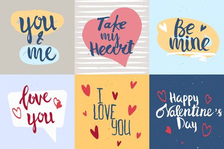 Set of  hand drawn lettering. Romantic cards for Valentine's Day. Stock vector illustration with vintage texture