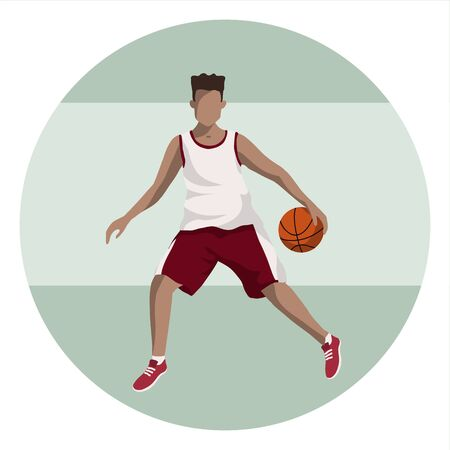 Basketball player with the ball in uniform on simple background. Dark-skinned male cartoon character play basketball. Sport icon. Flat vector illustration. Minimalistic illustration