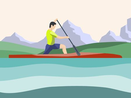Athlete of rowing in sports canoe with paddle on the mountains background. Male cartoon character competes in rowing competitions. Sports tourism, alloys on small boats. Flat vector illustration. Minimalistic illustration