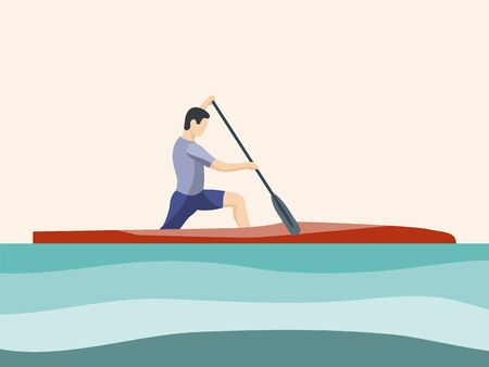 Athlete of rowing in sports canoe with paddle on plain background. Male cartoon character competes in rowing competitions. Sports tourism, alloys on small boats. Flat vector illustration. Minimalistic illustration