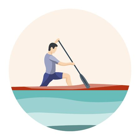 Athlete of rowing in sports canoe with paddle on plain background. Sport icon. Male cartoon character competes in rowing competitions. Sports tourism, alloys on small boats. Flat vector illustration.  Иллюстрация