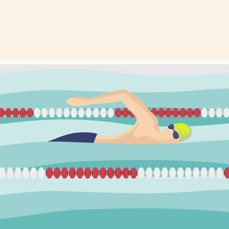 Swimmer is swimming along the path in the pool. Round sport illustration. Male cartoon character. Flat vector illustration. Minimalistic illustration