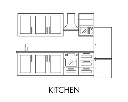 Kitchen interior with house appliances.Vector in line art style. Illustration for shop of kitchens and shop of house appliances