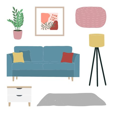 Furniture set cozy home interior of house plants, nightstand, ottoman, comfort sofa with pillows and home decorations. Comfortable interior in decorated in Scandinavian style. Flat vector illustration. Illustration