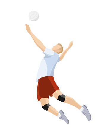 Volleyball player hits the ball. Isolated on white background. Male cartoon character play volleyball. Team sport. Flat vector illustration. Minimalistic illustration
