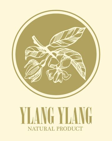 Logo with the image of ylang ylang with lettering. Natural product. Monochrome floral banner for natural cosmetics or herbal shop.  Stock vector illustration.