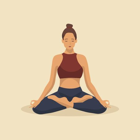 Young woman demonstrating various yoga or pilates positions isolated on light background. Concept health lifestyle. Sports female character. Stock vector illustration in flat style for sports blog.