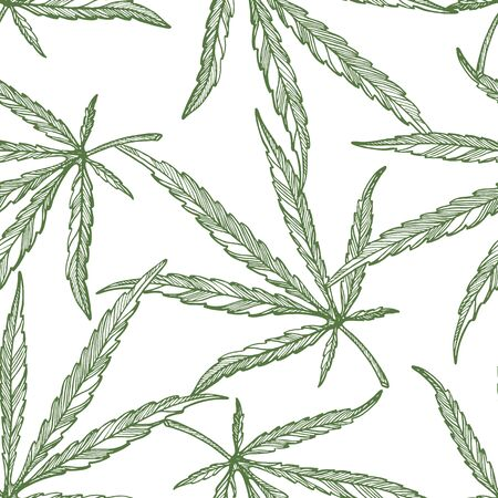 Seamless pattern of  leaves and branch of Hemp plant. Organic product. Ink sketch of cannabis. Hand drawn graphic design. Stock vector illustration.