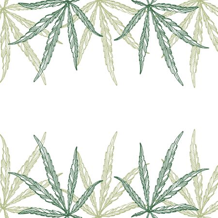 Frame of hemp plant leaves, branch and seeds. Organic product. Ink sketch of cannabis. Hand drawn graphic design. Stock vector illustration.