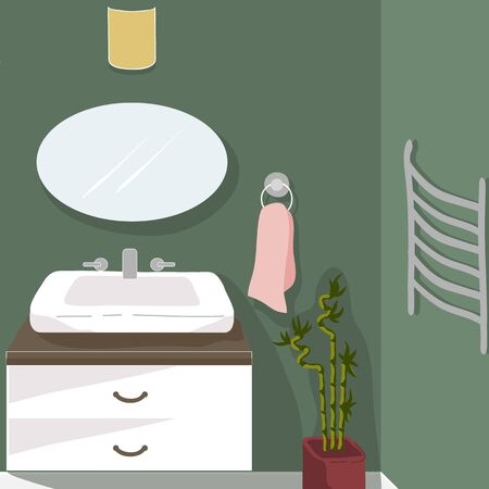 Modern bathroom. Cozy home interior with furniture and home decorations. Comfortable interior in decorated in Scandinavian style. Flat vector illustration.