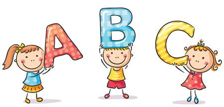 abc letters: Little kids holding ABC letters