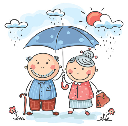 walking in the rain: Happy cartoon grandparents, no gradients