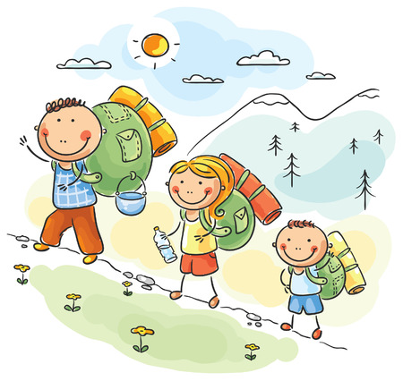 Cartoon family hiking in the mountains