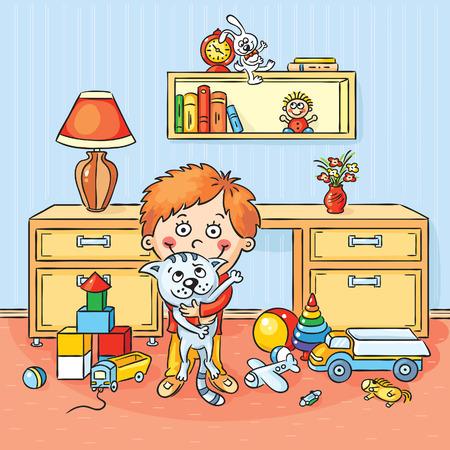 habitacion desordenada: Ni�o peque�o en su sala de juegos sosteniendo su gato