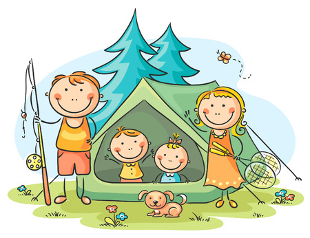 Family camping in the woods Vector