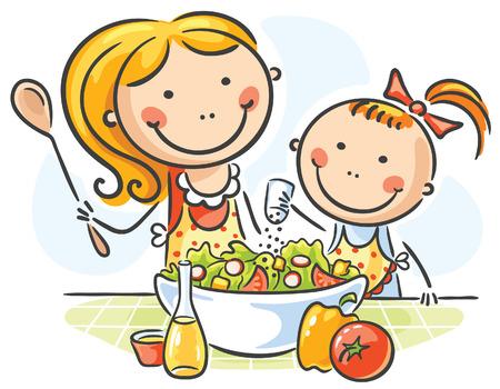 Madre e hija cocinar juntos Vectores