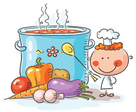 chef caricatura: Pequeño cocinero con una olla hirviendo gigante y verduras