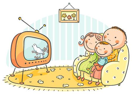 family together: Famiglia felice guardando la TV insieme Vettoriali