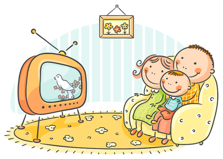 Happy family watching TV together Çizim